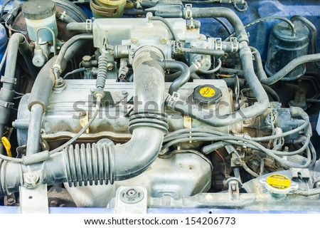The engine of the car.  - stock photo