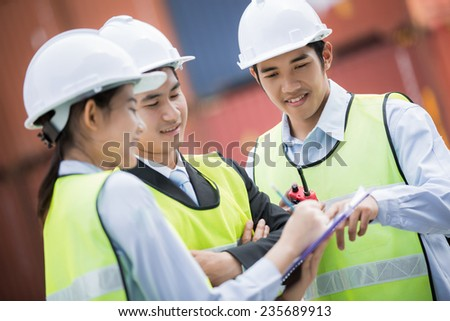 The engineers were in order and delivery - stock photo