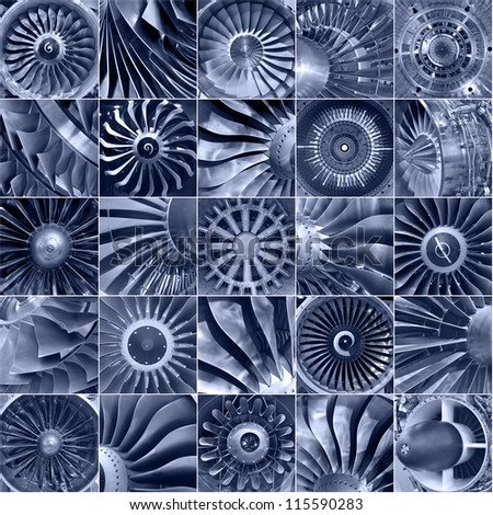 The engines of the aircraft, collage, toning - stock photo