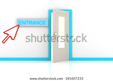 THE ENTRANCE AND THE CURSOR - stock photo