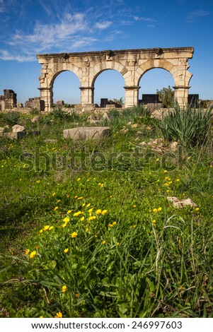The entrance arches of the Hercules Works House, Volubilis, Morocco - stock photo