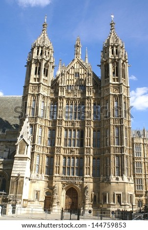 The entrance of westminster. the British parliament, London, England - stock photo