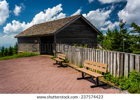 The Enviromental Education Center and benches at Mount Mitchell State Park, North Carolina. - stock photo