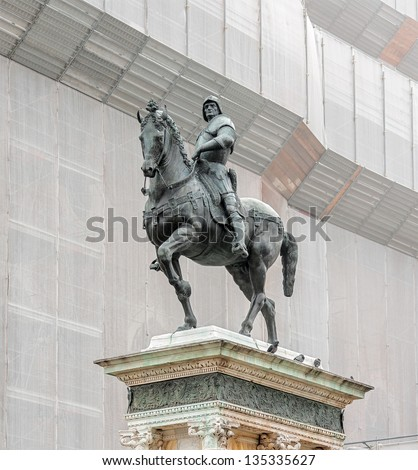The equestrian statue of condottiere Bartolomeo Colleoni (1479)  by Andrea del Verrocchio - Venice, Italy - stock photo