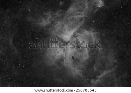 The Eta Carinae Nebula Imaged in Hydrogen Alpha - stock photo