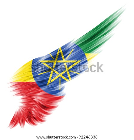 The Ethiopia flag on Abstract wing with white background - stock photo