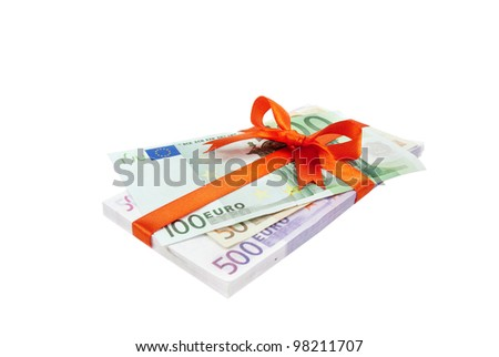 The euro money pile bound with a satin red ribbon and bow - stock photo