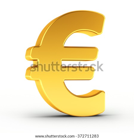 The Euro symbol as a polished golden object over white background with clipping path for quick and accurate isolation. - stock photo
