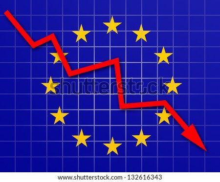 The European Union Flag and arrow graph going down - stock photo