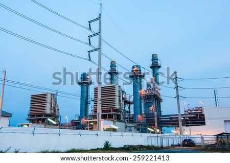The evening of the power plant - stock photo