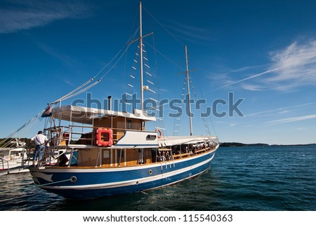 the excursion boat in city Porec - Croatia (Istria) - stock photo