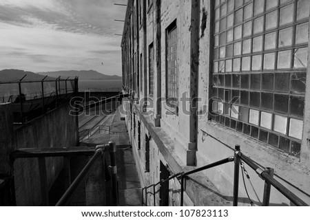 The exercise yard at Alcatraz Penitentiary, San Francisco - stock photo