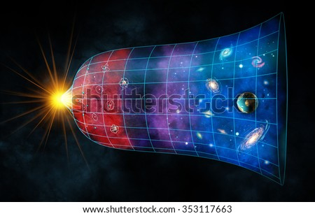 The expansion of the universe from the Big Bang to the present. Digital illustration. - stock photo
