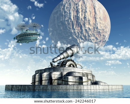 The Exploration of Space Computer generated 3D illustration - stock photo