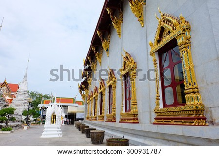The exterior Buddhist temple of Wat Rakang, Temple of Bangkok Thailand. - stock photo