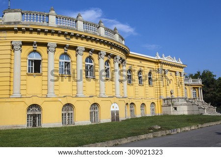 The exterior of the Palace that houses the Szechenyi Baths in Budapest, Hungary. - stock photo
