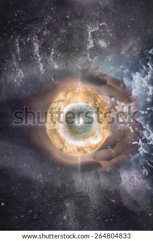 The eye of the Universe. Abstract collage - stock photo