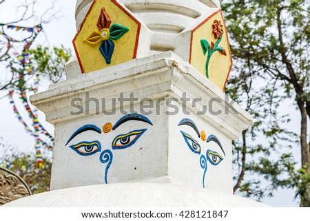 The eyes of Buddha symbol of buddhism  - stock photo