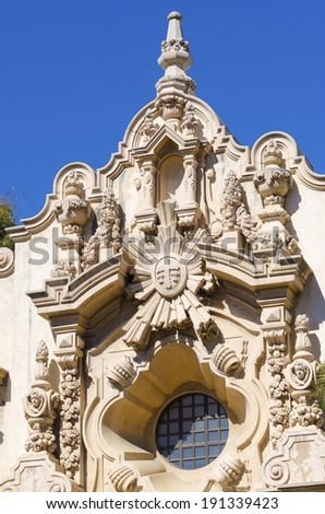 The facade of the historic landmark Casa Del Orado, decorated with carved baroque wall of spanish colonial architecture, located at Balboa Park, San Diego, California, United States of America - stock photo