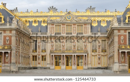 the facade of Versailles Palace in Ile de France - stock photo
