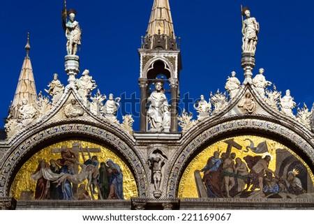 The facade site of San Marco Basilica, Venice, Italy - stock photo
