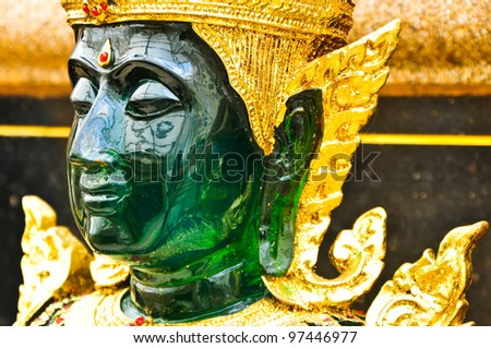 The Face of Emerald Buddha image - stock photo