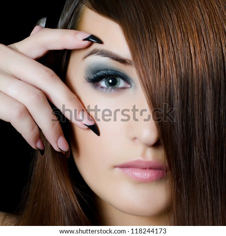 The face of girl with beautiful make-up - stock photo