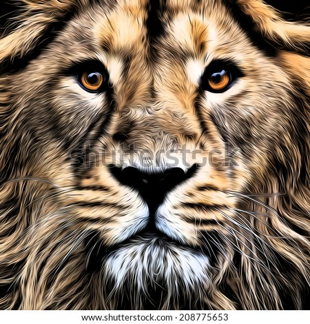 The face of young Asian lion with widely open eyes. The King of beasts, biggest cat of the world. Blackened illustration in oil painting style. Great for user pic, icon, label, tattoo. Zodiac symbol. - stock photo