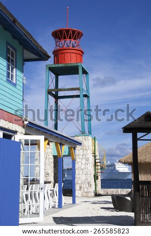 The facilities for tourists on uninhabited island Little Stirrup Cay (The Bahamas). - stock photo