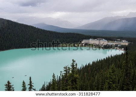 The Fairmont Chateau on Lake Louise in Banff National Park, Canada - stock photo