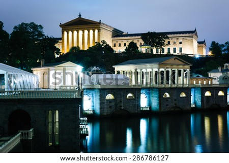 The Fairmount Water Works and Art Museum at night, in Philadelphia, Pennsylvania. - stock photo