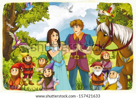 The fairy tale - beautiful Manga style - illustration for the children - stock photo