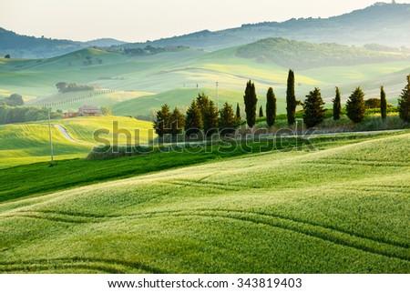 The fairytale landscape of Tuscany fields at sunrise, Italy, Europe - stock photo