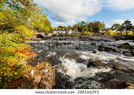 The falls of Dochart in Killin, Scotland during autumn. - stock photo