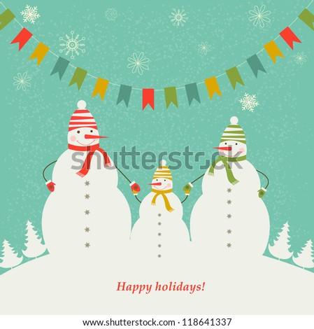 The family of snowmen. Christmas decorations. - stock photo