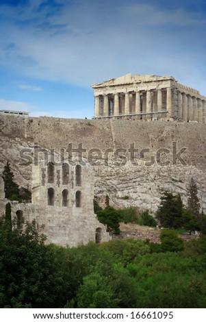 the famous acropolis of athens - stock photo