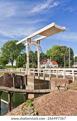 The famous ancient Queen Beatrix bridge in Veere, Netherlands.  - stock photo
