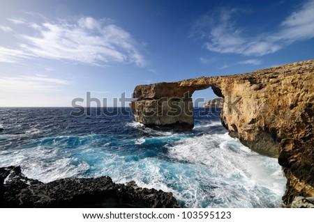 The famous Azure Window in Dwejra, Gozo, Malta. - stock photo