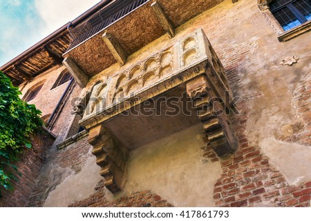 The Famous Balcony of Juliet Capulet Home in Verona, Italy - stock photo