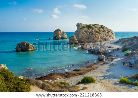 The famous beach located next to the Rock of the Greek, the birthplace of the goddess Aphrodite, Paphos, Cyprus. - stock photo