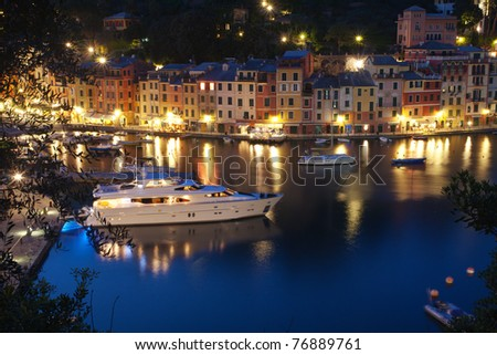 The Famous beautiful Portofino village in Italy at dusk - stock photo