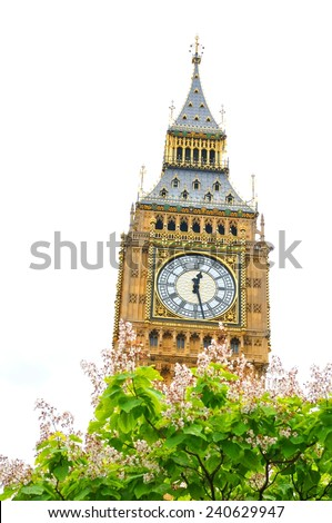The famous Big Ben in London isolated against white - stock photo