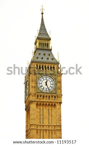 The famous Big Ben in London (isolated wit lots of details) - stock photo