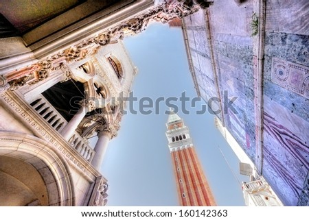 The famous campanile in Venice seen in a abstract way with a wide angle of photography  - stock photo
