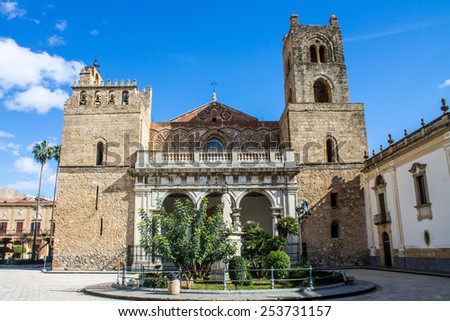 The famous Cathedral of Santa Maria Nuova, in the historic center of Monreale, near Palermo, Sicily, Italy - stock photo