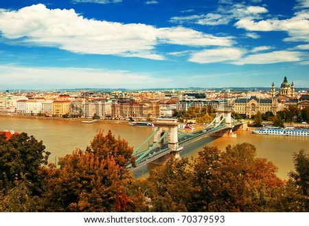 The famous Chain Bridge in Budapest, Hungary - stock photo