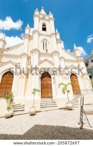 The famous church and square of El Angel in Old Havana - stock photo