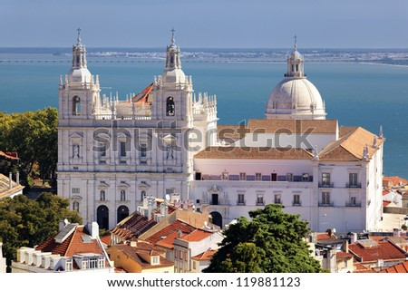 the famous Church of St. Vicent in Lisbon - stock photo