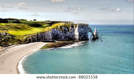 The famous cliffs of Etretat in Normandy france - stock photo