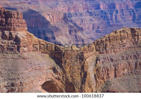 The famous Eagle rock formation at Eagle Point on the West Rim Grand Canyon Arizona - stock photo